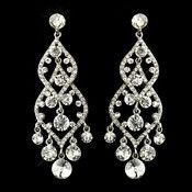 Silver Clear Rhinestone Bridal Chandelier Earrings 22564