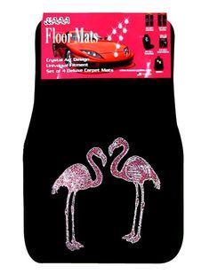 4-Piece Flamingo Rhinestone Carpet Car Floor Mats - Just Pink About It
