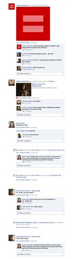 What would happen if Game of Thrones took place entirely on Facebook? Season 3 Episode 2. I CAN'T STOP LAUGHING.