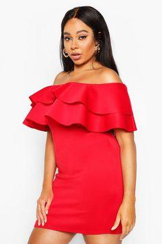 Womens Plus Bardot Ruffle Mini Dress - red - 20 Bodycon Fashion, Cool Tones, Bardot, Dress Red, Skater Dress, Boohoo, Ruffles, Dressing, Plus Size