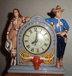 Ceramic cowboy and cowgirl Lanshire mantel clock - TheJunkPost Unique Clocks, Cool Clocks, Vintage Western Decor, Electric Clock, Cowboy And Cowgirl, Cowgirls, Wild West, Novelty Clocks, Old Things