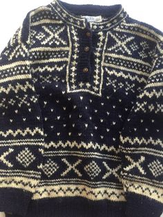 HIMALAYAN Wool Sweater Blue Fair Isle Pattern by BROCANTEBedStuy 4ed28bf00a60
