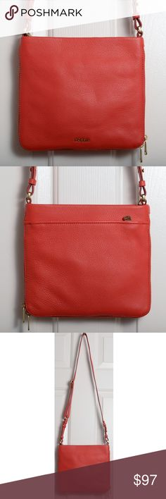"Fossil Preston Leather Crossbody Bag (Red) Dimensions: Approximately 8.27"" High, 2.76 Wide. The color is ""Tomato Red"". I can count on one hand how many times I've worn this bag. It's in excellent condition. It needs a new loving closet to call home. Dust bag included. Fossil Bags Crossbody Bags"