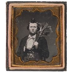 Sixth Plate Daguerreotype of Man with Feather Duster.