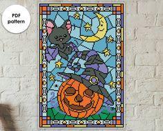 "Halloween cross stitch pattern ""Bat & Pumpkin"" - stained glass cross stitch pattern - pumpkin cross stitch pattern BUY 2 GET 1 FREE Bead Patterns, Cross Stitch Patterns, Window Table, Stain Glass Cross, Cross Stitch For Kids, Halloween Cross Stitches, Canvas Bags, Plastic Canvas Crafts, Dmc Floss"