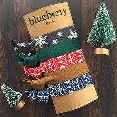 Christmas Gifts, Stocking Stuffers, Gifts Under 15 dollars - Hair Ties - Rustic Christmas Set of Hair Ties - Red, Navy Fair Isle, Snowflake by BlueberryHairTies on Etsy