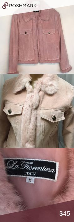 Suede & Rabbit Jacket Pink, like first pic, suede & rabbit jacket size medium.  This is a rePosh for me.  The one time I was going to wear it, I reconsidered.  San Francisco, fur isn't the best choice.  Really cute.  Smoke free, pet free home La Fiorentina Jackets & Coats