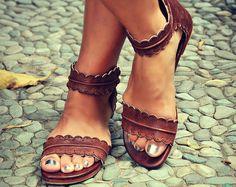 SOLSTICIO DE VERANO. Marrón cuero sandalias / zapatos / zapatos de cuero / zapatos planos / zapatos boho. tallas 35-43. Disponible en cuero diferentes colores