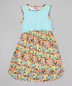 Look at this #zulilyfind! Girls Luv Pink Mint & Black Floral Dress - Toddler & Girls by Girls Luv Pink #zulilyfinds