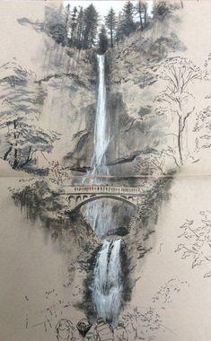 Architectural sketches 568227677985930506 - Multnomah Falls Source by merimeemiggliac Landscape Pencil Drawings, Landscape Sketch, Pencil Art Drawings, Landscape Art, Art Sketches, Landscape Paintings, Bts Drawings, Fantasy Drawings, Chinese Landscape Painting