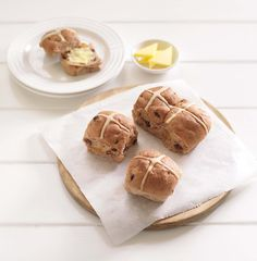 If you don't want to bake your own, Bakeworks Hot Cross Buns are a delicious option. Gluten and dairy free and available online or in major supermarkets across NZ Gluten Free Hot Cross Buns, Food Allergies, Dairy Free, Muffin, Easter, Bread, Baking, Breakfast, Fun