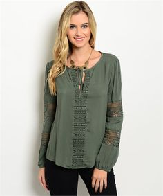#olivetop #peasanttop #casualtop | Women's Olive Lace Casual Boutique Top | Cali Boutique | FREE U.S. Shipping!