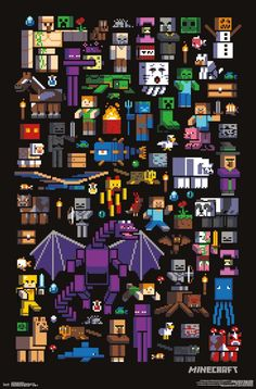 Minecraft Poster Mobbery - Minecraft World Minecraft Mobs, Minecraft Skins, Minecraft World, Capas Minecraft, Minecraft Posters, Minecraft Banner Designs, Minecraft Pictures, Minecraft Drawings, Minecraft Banners