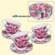 SHOP-PARADISE.COM:  Porzellan Teeservice Rosa Rosen 12 Tlg. 23,99 €