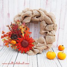DIY Fall Burlap Wreath - would look so cute as part of your fall decor!
