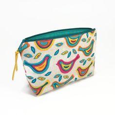 Makeup bag Makeup zipper bag Birds Zipper pouch by NoLongerBlue