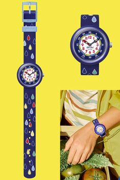 Available exclusively online, RAIN DROPS (ZFBNP147) is a cool Swiss watch in blue - the ideal gift for kids. Helping to make learning to tell the time fun, its sturdy case is made from solid plastic, and it's machine washable. It has a funky raindrop print design in red, yellow and green - it's never too early for kids to learn about style, no matter what the time is. Swiss Watch, Telling Time, Rain Drops, Gifts For Kids, Swatch, Print Design, Plastic, Cool Stuff, Learning