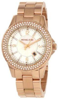 Michael Kors Ladies White Dial Crystal Bezel Rose Gold Bracelet Watch MK5403