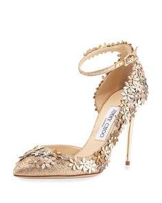ed03d76224d Jimmy Choo  Lorelai  Floral Embellished Ankle Strap Pump Neiman Marcus