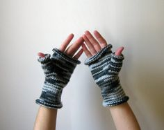 Variegated Gray Fingerless Gloves Hand Knitted by knitBranda, $26.00