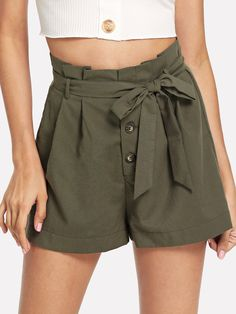 Casual Plain Straight Leg Regular Button Fly High Waist Army Green Self Belted Button Front Frilled Shorts with Belt Denim Jumper Shorts, Frill Shorts, Bow Shorts, Linen Shorts, Striped Shorts, Summer Outfits, Cute Outfits, Dress Outfits, Dresses
