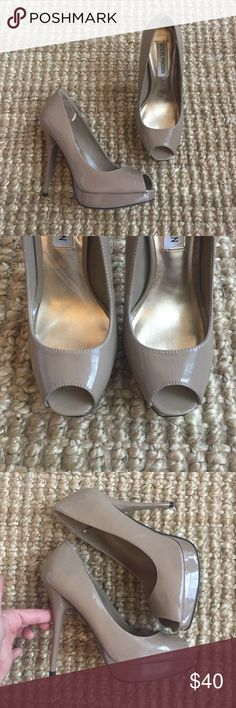 EUC Steve Madden Pumps Steve Madden Karro shoes. Such a great heel! Flattering taupe/nude color. Excellent condition! I only wore these once when I was a bridesmaid. They are just slightly too big, unfortunately! The only visible wear is inside the shoes where I put heel liners to make them fit better (now removed). Steve Madden Shoes Heels