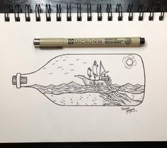 •simple ink• #ink #art #shipinabottle #doodles
