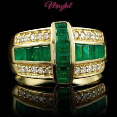 $8700 CERTIFIED 18K YELLOW GOLD 1.25CT EMERALD 0.40CT DIAMOND RING #Maytal #Band