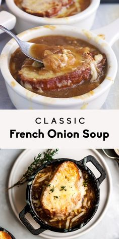 An incredible classic french onion soup made with delicious caramelized onions fresh herbs a flavorful broth. Topped with gruyere cheese and a toasted slice of garlic french bread. Onion Soup Recipes, Easy Soup Recipes, Panera Onion Soup Recipe, French Onion Soup Vegetarian, Crockpot French Onion Soup, Onion Soups, Cheese Recipes, Fall Recipes, Vegetarian