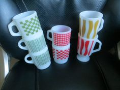 Vintage Lot of FireKing Mugs Striped Checked Green Mustard Yellow Red by HolySerendipity on Etsy