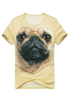 Cute Pugdog Print Short Sleeve T-shirt OASAP.com