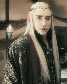 """Thranduil speaking with Gandalf before the battle begins. Like his Father Thranduil resents """"interference"""" and suspects the Wizard of sympathizing with the Dwarves."""