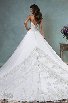 amelia sposa 2016 wedding dresses strapless sweetheart neckline embroideried bodice beautiful satin a line ball gown wedding dress canty back view