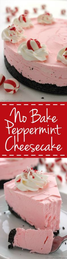 No Bake Peppermint Cheesecake - Great subtle peppermint flavors in this super simple cheesecake. Makes for a perfect holiday dessert.