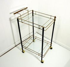 60s black metal bar cart glass shelves moveable by gillardgurl, $90.00