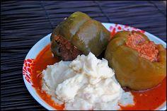 Croatian comfort food - Stuffed peppers and mashed potatoes. YUM!