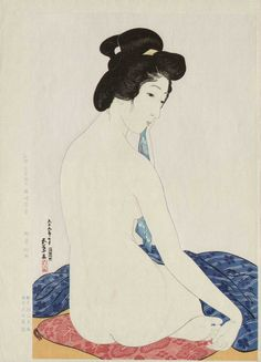 "Hashiguchi Goyo, 1920, ""Yokugo no onna"" (Woman after a bath). Woodblock. Goyo died after he produced only 14 prints (13 under his own supervision plus 1 published by Watanabe). The model's name is Tsuru Nakatani (Goyo's favorite model)."