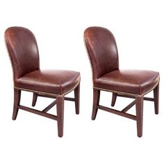 Check out this item at One Kings Lane! Piedmont Leather Side Chairs, Pair