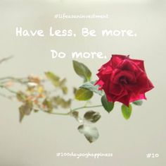 Have less. Be more. Do more. #100daysofhappiness #happyperson #happiness #love #openyourheart #lifeasaninvestment #fun #youcandothat