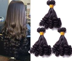"""3Bundles Human Hair Extensions 10""""-30"""" Funmi Curly 50g/pc Natural Black Hair  #wigiss #HairExtension"""