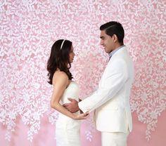 Lace Felt Garland, Wedding Backdrop, Photography Back drop, wedding decor, curtain, modern home decor, nursery decor by TheLittleWhiteDress on Etsy https://www.etsy.com/listing/175143588/lace-felt-garland-wedding-backdrop