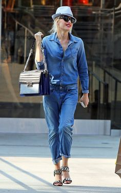 Blue Jean Baby: 31 Celeb-Approved Ways to Do Denim: Another denim-on-denim pairing was courtesy of Gwen Stefani. Don't forget to add posh accessories to break up the look.