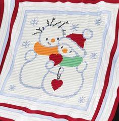 Crochet Pattern   Christmas Baby Blanket / Afghan - Snowmen