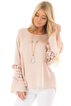 36218bc38cd4 Lime Lush Boutique - Blush Bell Sleeve Top with Sheer Lace Detail, $39.99  (https