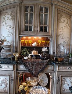 Beautiful cabinetry and niches for display!~
