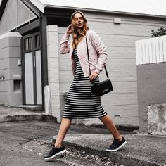 New Sneakers Dress Pink Ideas Modest Outfits, Modest Fashion, Casual Outfits, Cute Outfits, Fashion Outfits, Womens Fashion, Looks Style, My Style, Pink Bomber Jacket