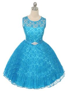 Turquoise Lovely Pleated Lace Flower Girl Dress (Available in Sizes in 8 Colors) Special Dresses, Special Occasion Dresses, Lace Flower Girls, Flower Girl Dresses, Princess Dresses, Daddy Daughter Dance Dresses, Junior Bridesmaid Dresses, Lovely Dresses, Blue Lace