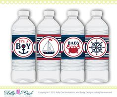 Water Bottle Wrappers, Labels Nautical Baby Shower in Navy, Blue, Red, with crab, anchor, blue red DIY- ONLY digital file - you print SKU41