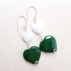 Green earrings, White earrings, Heart earrings, Dangle earrings, Colored earrings, Romantic earrings, Spring earrings, Spring jewelry