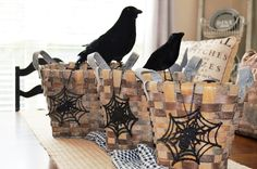 This incredible set of 3 baskets make the perfect centerpiece for your Halloween tablescape. The stair stepping sizes lend visual interest and simply hanging our spider web ornaments on the front, bring the perfect pop of Holiday spook! Fill these baskets with essentials for your party like flatware, napkins and plates or line them with cloth napkins and serve party food.